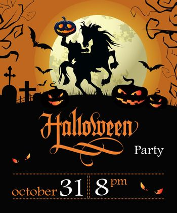 Halloween party lettering with date, headless horseman and moon