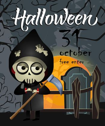 Halloween, October thirty first lettering with grim reaper