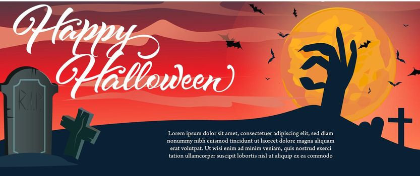 Happy Halloween lettering with gravestone and zombie hand
