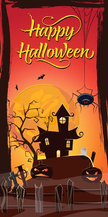 Happy Halloween lettering. Haunted house, pumpkins and spider