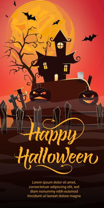 Happy Halloween lettering. Haunted house, pumpkins, cemetery