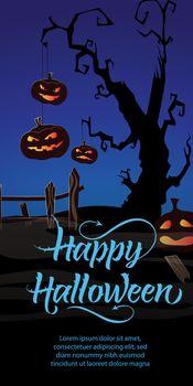 Trick or Treat Party This Friday text. Pumpkins, cobweb, tree