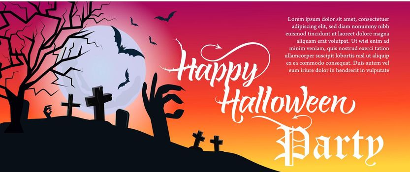 Happy Halloween Party lettering with graveyard and tree