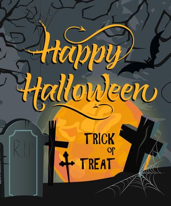 Happy Halloween, Trick or Treat lettering with moon and cemetery