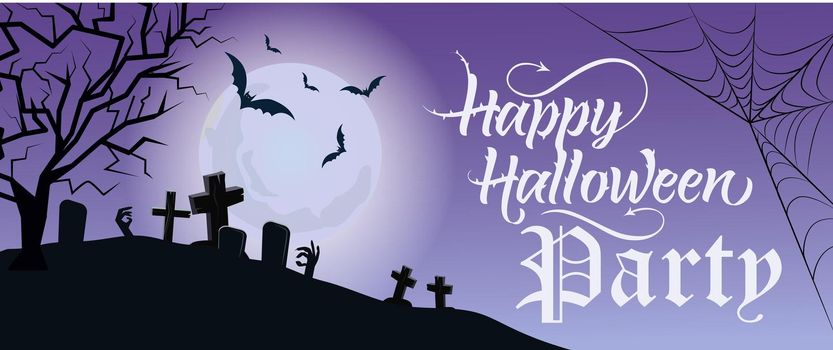 Happy Halloween Party lettering with moon and cemetery
