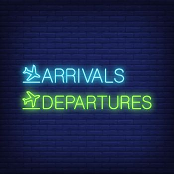 Arrivals and departures neon sign