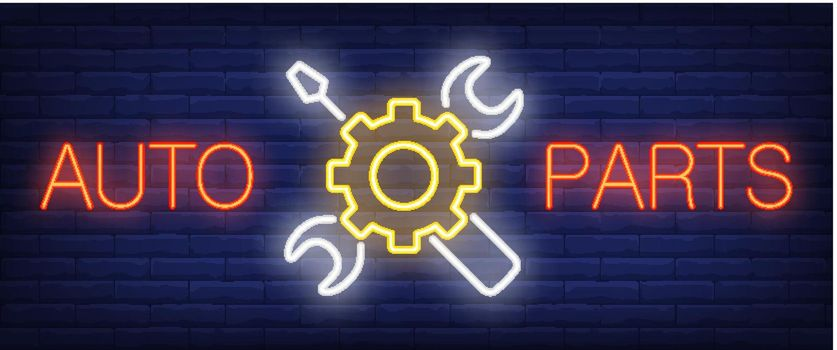 Auto Parts sign in neon style