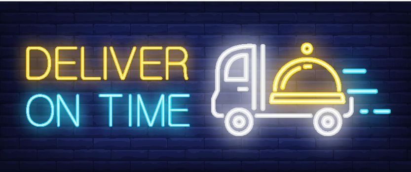 Deliver on Time sign in neon style