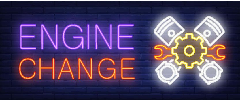 Engine Change sign in neon style