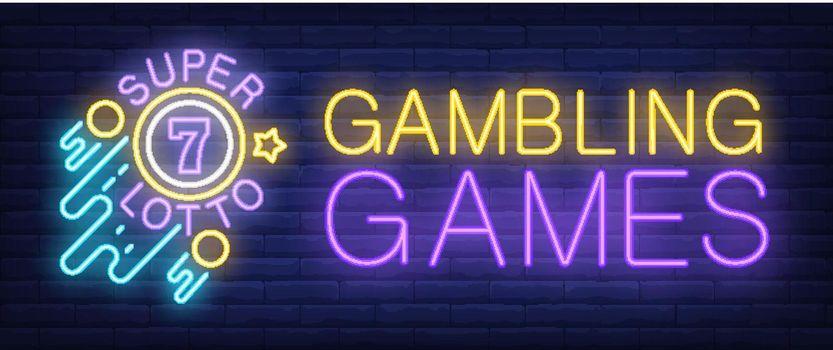 Gambling Games, Super Lotto neon sign