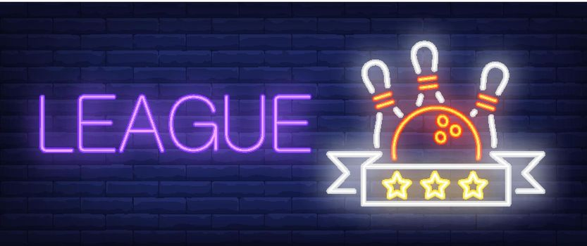 League neon text with ball and skittles