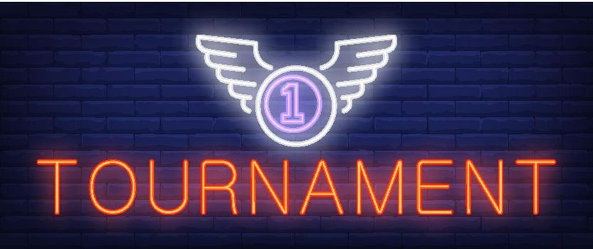 Tournament neon text and ball with wings