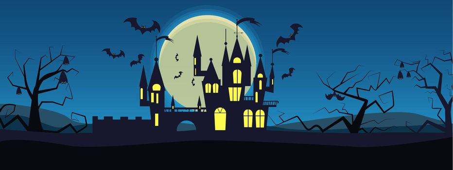Bats flying around mysterious house vector illustration