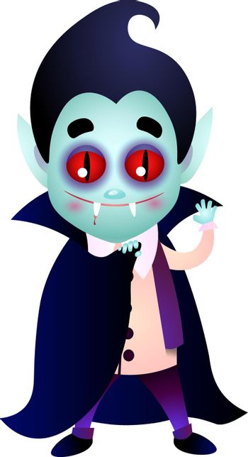 Dracula with bloody fang waving hand and covering body with cape