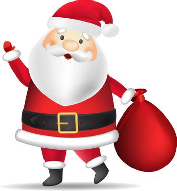 Santa Clause in costume carrying sack