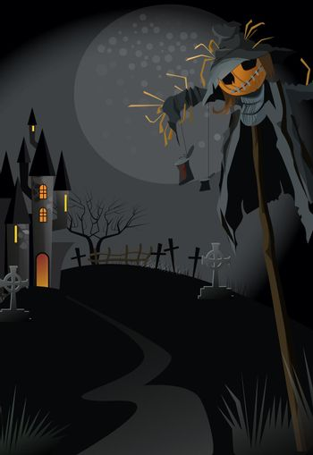 Ugly scarecrow on stick at night vector illustration