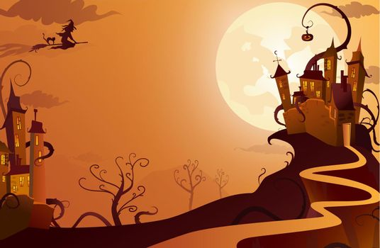 Witch flying to mysterious house vector illustration