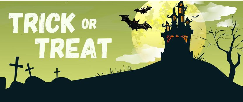 Trick or Treat lettering with castle and bats