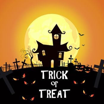 Trick or Treat lettering with cemetery, castles and spooky eyes