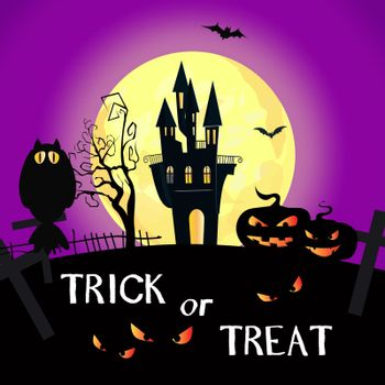 Trick or Treat lettering with full moon, castle and pumpkins