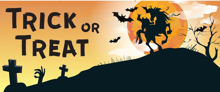 Trick or Treat lettering with Headless Horseman and graveyard