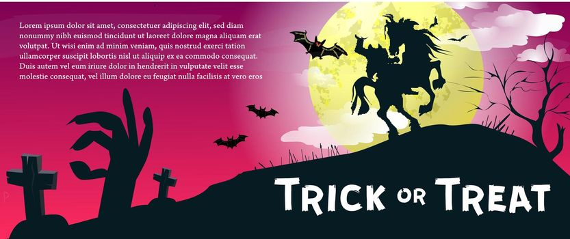 Trick or Treat lettering with headless horseman and moon