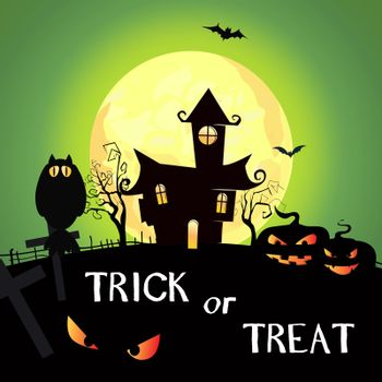 Trick or Treat lettering with moon, pumpkins and castle