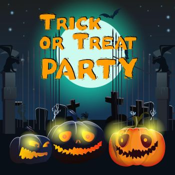 Trick or Treat Party lettering with pumpkins and graveyard