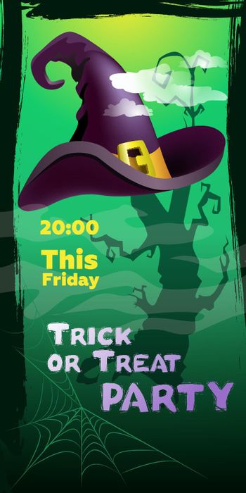 Trick or Treat Party This Friday lettering. Witch hat and cobweb