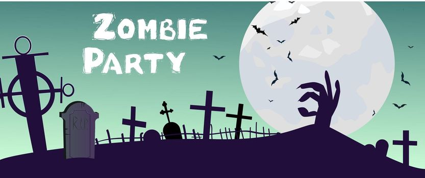 Zombie Party lettering with cemetery, hand and moon