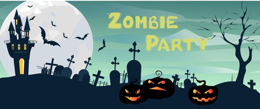 Zombie Party lettering with castle, graveyard, moon and pumpkins