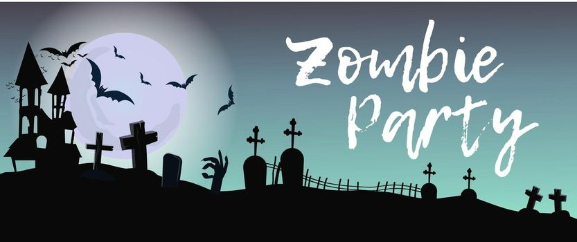 Zombie Party lettering with graveyard and moon