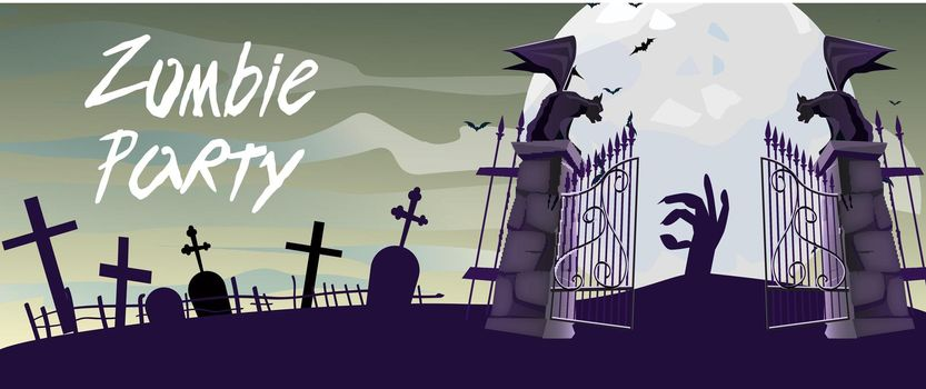 Zombie Party lettering with graveyard gates, gargoyles and moon