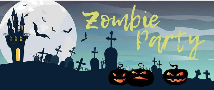 Zombie Party lettering with graveyard, castle and pumpkins