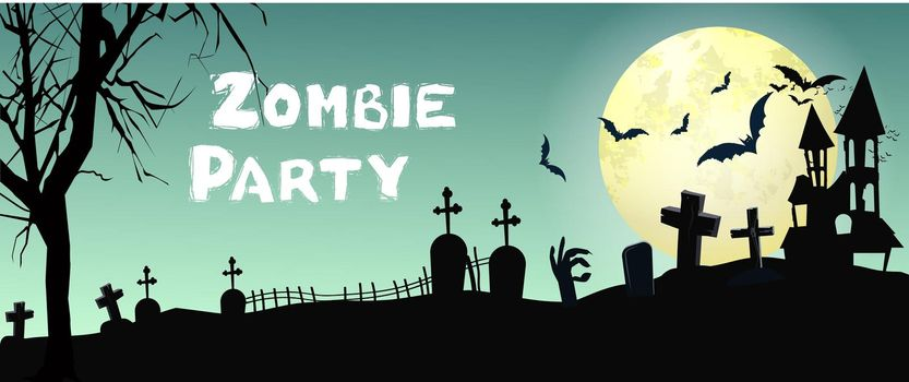 Zombie Party lettering with graveyard, bats and moon
