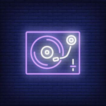 Vinyl record player neon sign