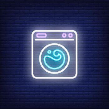 Washing machine neon sign