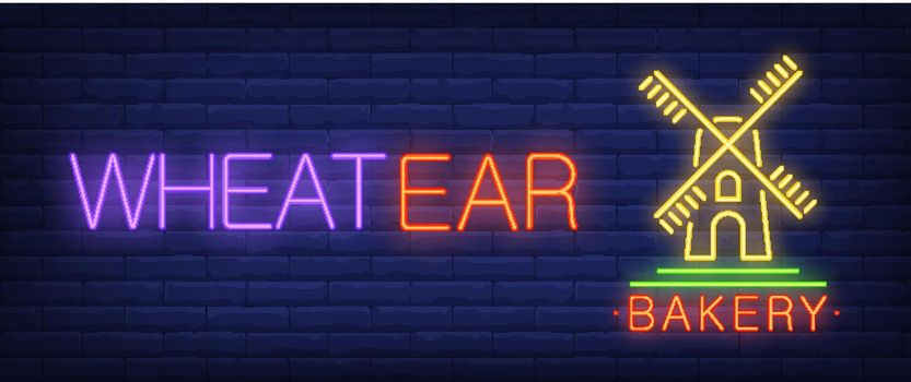 Wheatear, bakery neon text with wind mill