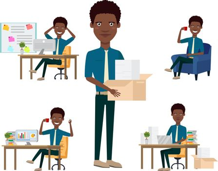 African office employee character set with different poses