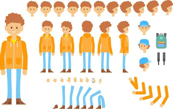 Animated character of teenager in modern outfit