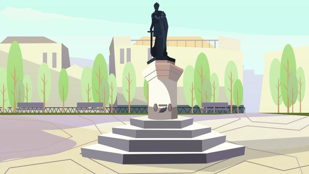 Ancient king with sword monument on stand vector illustration