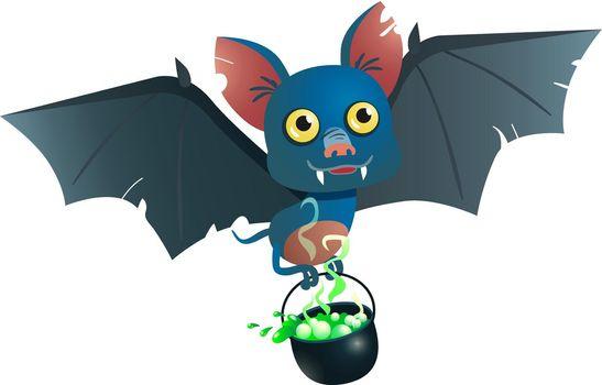 Bat carrying cauldron with potion vector illustration