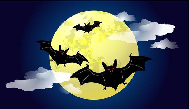 Bats flying against moonlight at night vector illustration
