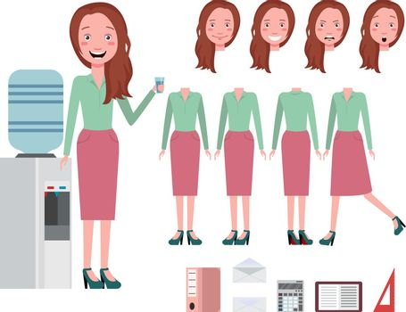 Businesswoman drinking water from cooler character set