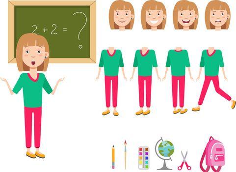 Confused schoolgirl at blackboard character set
