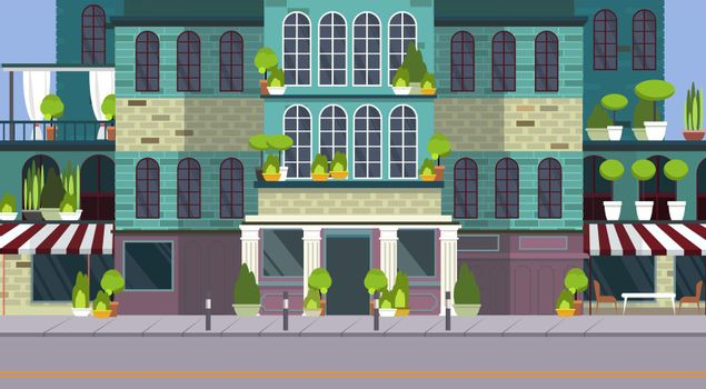 Empty city street with beautiful building and plants