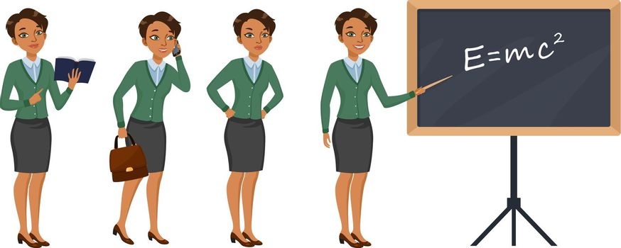 Female teacher character set with different poses, emotions