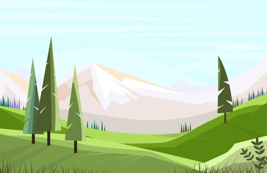 Green fields with tall trees vector illustration