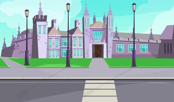 Gothic mansion on city street vector illustration