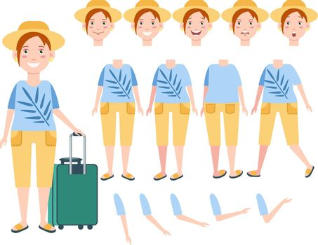 Happy female tourist in sun hat with luggage character set